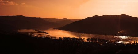 visegrad: This is a sunset landscape with river in the valley. The IRL location is the bend of Danube in Hungary during a the most higher flood in the past 100 years.