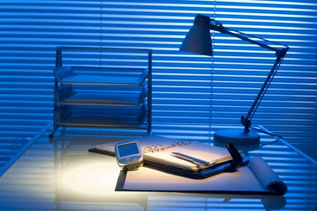 dayplanner: Typical desk in a typical office. Stock Photo
