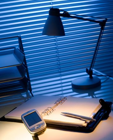 typical: Typical desk in a typical office. Stock Photo