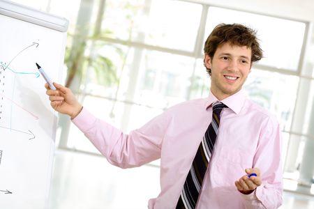 Youn businessman doing presentation on whiteboard.