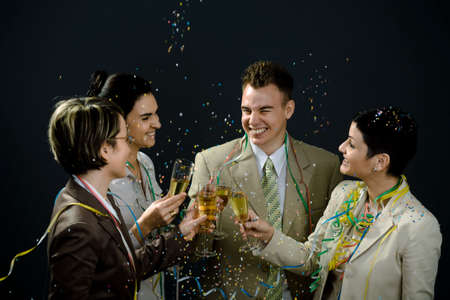 Young businesspeople on New Year Eve Party. photo