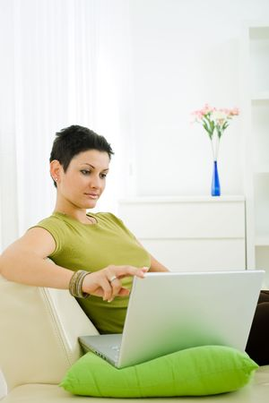 Young woman working on laptop computer at home. Stock Photo - 3861542