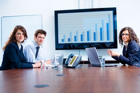 Happy business people having meeting at modern office, smiling. Stock Photo - 3868600