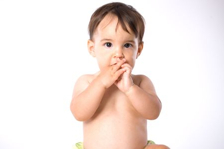 Portrait of cute baby wearing diaper - white background. Stock Photo - 3889261