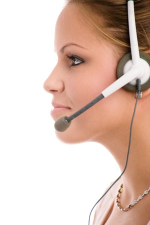 Happy young customer service girl in headset smiling. Stock Photo - 4089938
