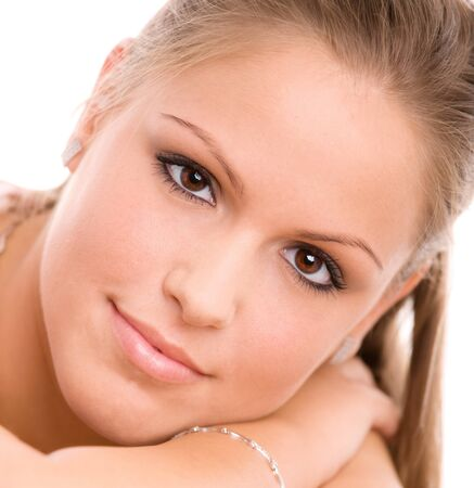 Portrait of beautiful college girl, looking at camera smiling. Stock Photo - 4089936