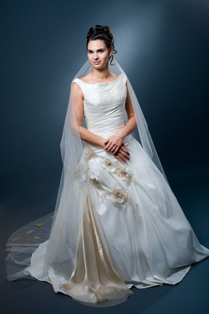 formal dress: Studio portrait of mature caucasian bride wearing classic white wedding dress. Stock Photo
