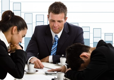 bankrupt: Disappointed businesspeople in financial crisis. Stock Photo