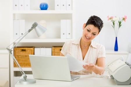 Business woman working on laptop computer at home. Stock Photo - 4130455