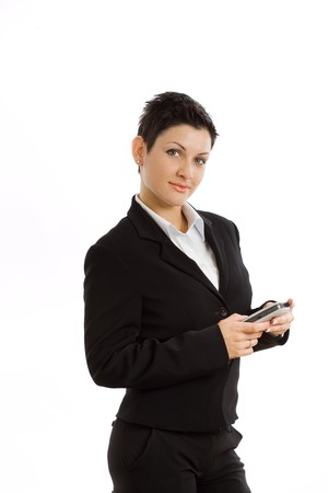 Happy businesswoman using mobile phone, smiling, isolated on white. photo