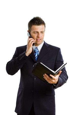 Happy businessman  calling on cellphone, smiling, isolated on white.