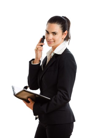 Happy businesswoman calling on mobile phone, smiling, isolated on white. photo