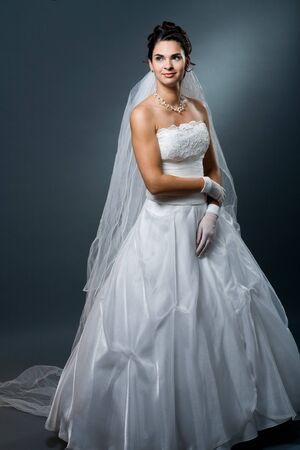 formal dress: Bride posing in white wedding dress and wearing veil.