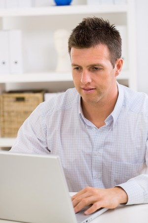 Business man working on laptop computer at home. Stock Photo - 4153329