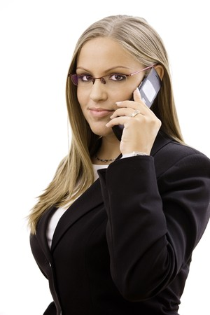 Young happy businesswoman calling on mobile phone, isolated on white. Stock Photo - 4161122