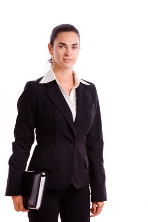 Happy businesswoman walking, smiling, isolated on white. Stock Photo - 4161141