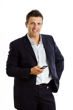 Happy businessman calling on mobile phone, smiling, isolated on white photo