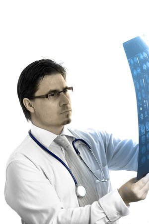 Portrait of mid-adult male medical doctor. Stock Photo