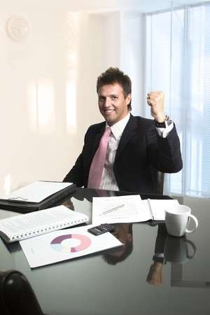 successfull: Handsome CEO is very pleased with the progress of his business. Stock Photo