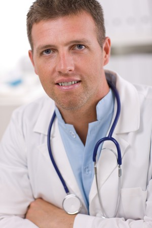 european expression face: Portrait of medical professional at doctors room.