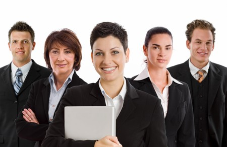 Team photo of happy business people, white background. photo