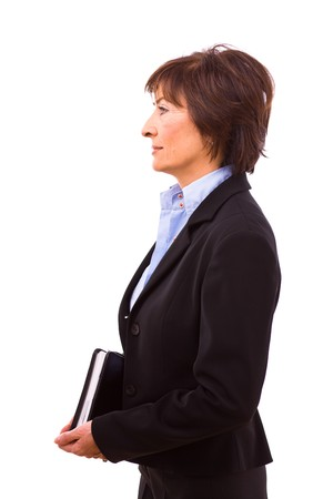 only one senior: Portrait of senior businesswoman isolated on white background. Stock Photo