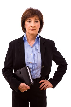 serious woman: Portrait of senior businesswoman isolated on white background. Stock Photo
