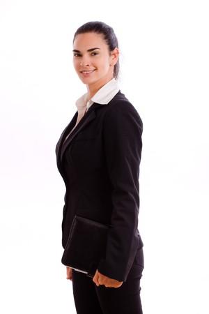 Happy businesswoman walking, smiling, isolated on white. photo