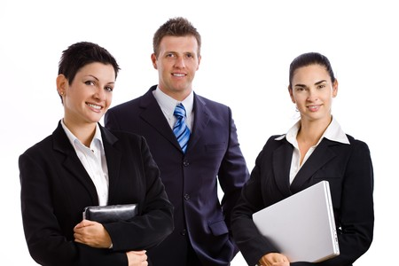 businesswear: Team of happy successful business people smiling, isolated on white. Stock Photo