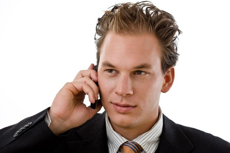 Businessman calling on mobile phone, white background. Stock Photo - 4387011