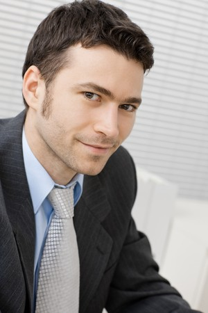 Portrait of happy smiling young businessman at office. Stock Photo - 4403196
