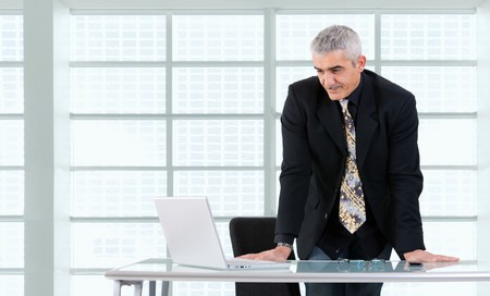 Mature businessman working on laptop computer at desk az office, smiling. photo