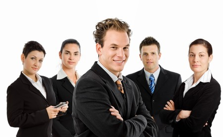 businesswear: Team photo of happy business people, white background. Stock Photo