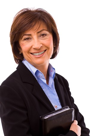 businesswear: Happy senior businesswoman isolated on white background.