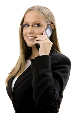 businesswear: Young happy businesswoman calling on mobile phone, smiling, isolated on white background. Stock Photo