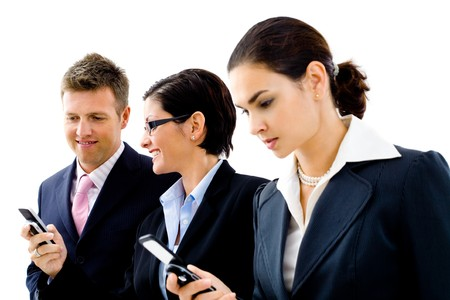Happy businesspeople using mobile phones, isolated on white background. photo