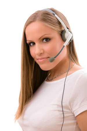 Happy young customer representative girl calling on headset, smiling, isolated on white background. Stock Photo - 4560059