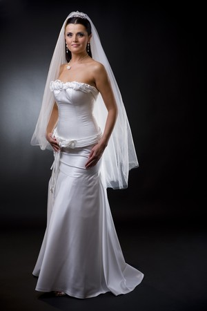 bridal veil: Studio portrait of a young bride wearing white wedding dress with veil, smiling and looking at camera.