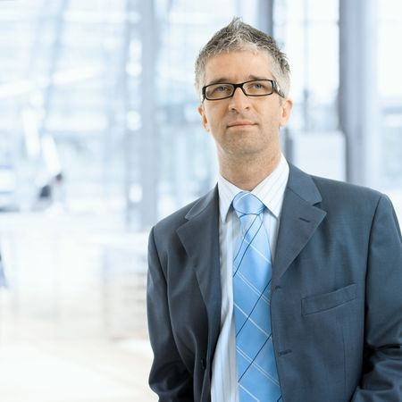 gratified: Portrait of serious businessman wearing gray suit with blue tie and glasses, standing in office lobby, in front of windows. Stock Photo