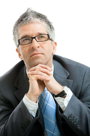 Closeup portrait of tired businessman leaning on his hands, looking up. Isolated on white background. Stock Photo - 4608075
