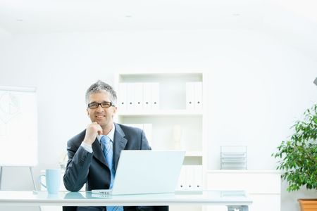 Businessman with grey hair, wearing grey suit and glasses thinking over laptop computer, sitting at desk in bright, modern office, leaning on hand, smiling. Stock Photo - 4608077