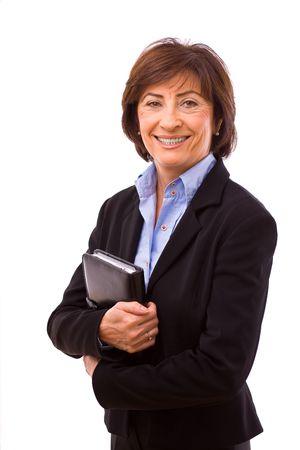 Happy senior businesswoman isolated on white background. photo