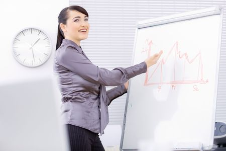 Young businesswomen doing presentation on whiteboard, showing a finacial graph, smiling. photo