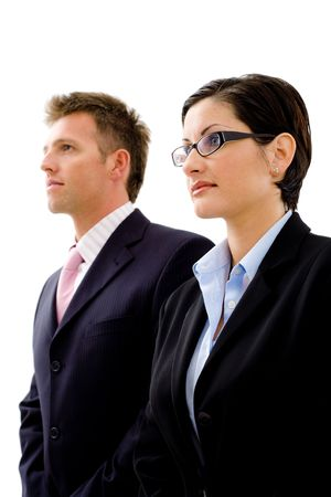 undoubting: Successful young business people looking away, isolated on white background.