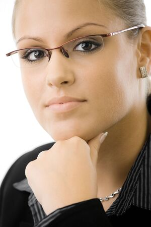 woman wearing glasses: Young businesswoman thinking, isolated on white background.