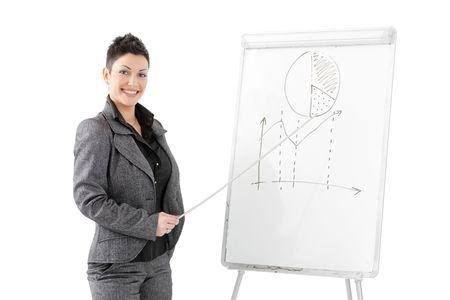 fulfilled: Happy young businesswoman doing business presentation at whiteboard, smiling, isolated on white background.