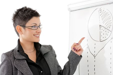 Happy young businesswoman doing business presentation at whiteboard, smiling, isolated on white background. photo
