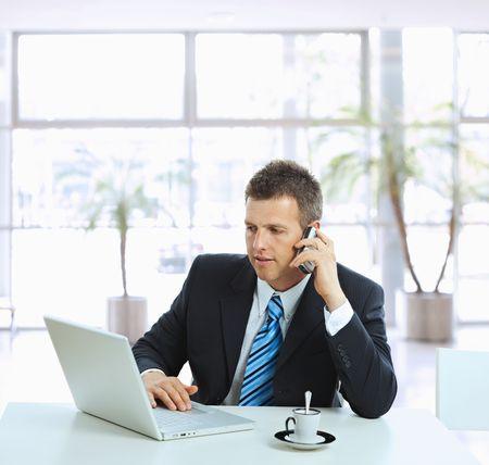 celulas humanas: Hombre de negocios sentado en la mesa en el hall de la oficina, hablando por tel�fono m�vil y el uso de ordenador port�til.