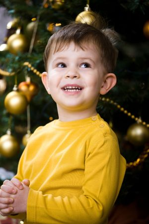 Little boy praying at Christmas Eve under the Christmas tree. photo