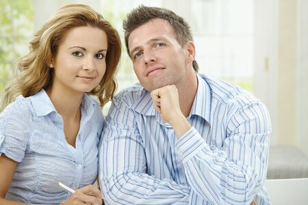 Closeup portrait of love couple thinking together. Stock Photo - 5732537